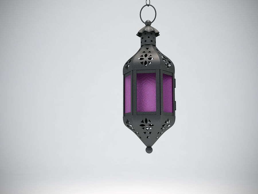 Purple Moroccan Candle Lantern royalty-free 3d model - Preview no. 5