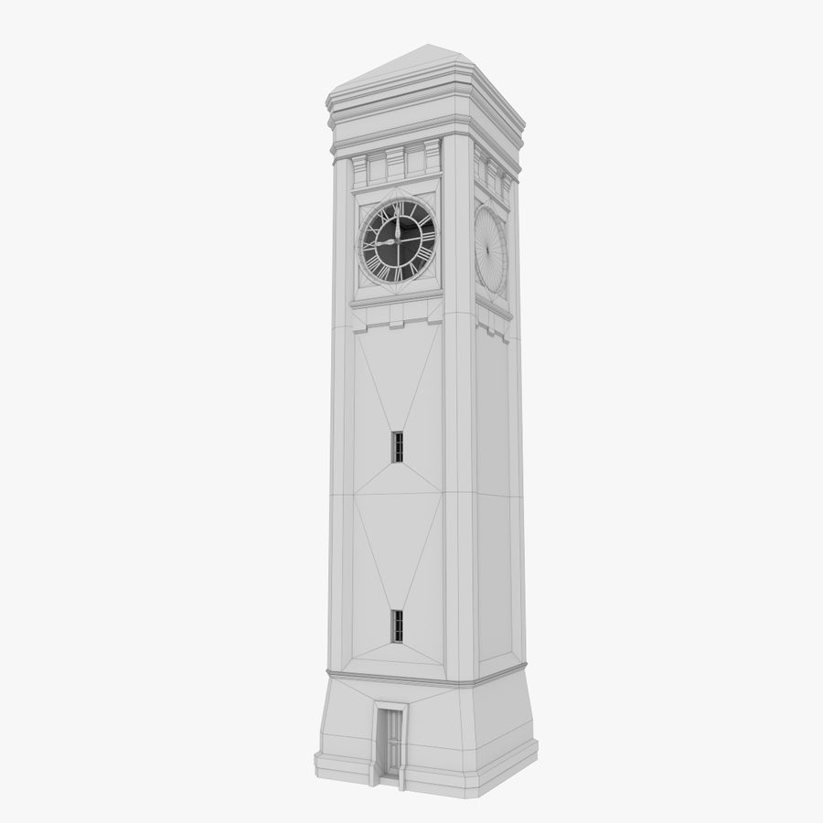 Wieża zegarowa trzy z teksturowanym wnętrzem royalty-free 3d model - Preview no. 13