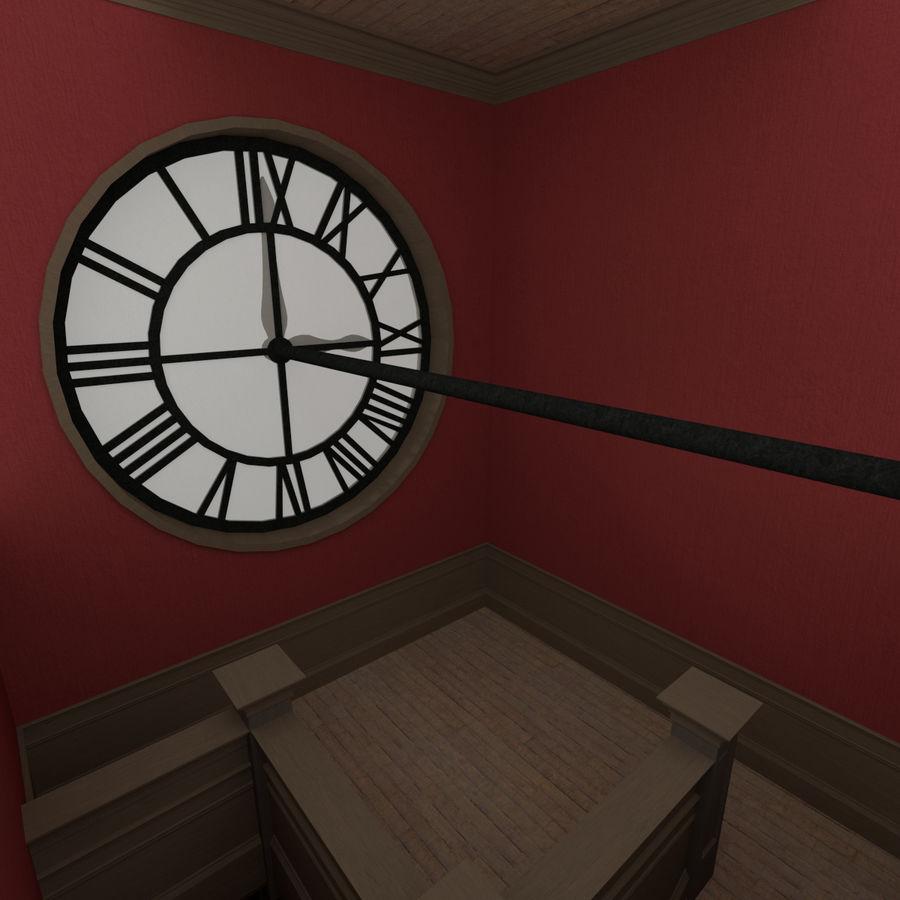 Wieża zegarowa trzy z teksturowanym wnętrzem royalty-free 3d model - Preview no. 10