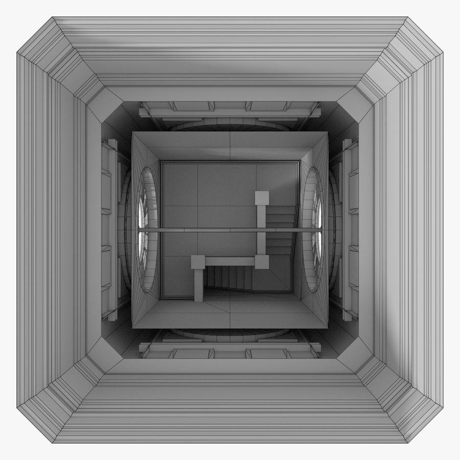 Wieża zegarowa trzy z teksturowanym wnętrzem royalty-free 3d model - Preview no. 24
