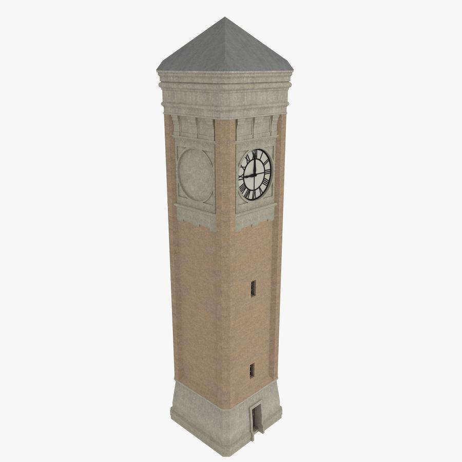 Wieża zegarowa trzy z teksturowanym wnętrzem royalty-free 3d model - Preview no. 2