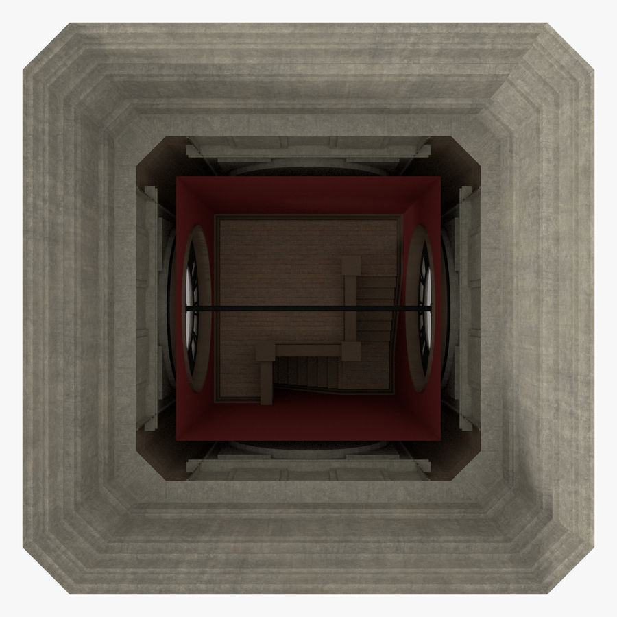 Wieża zegarowa trzy z teksturowanym wnętrzem royalty-free 3d model - Preview no. 12