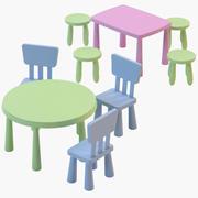 Krzesła i stoły IKEA Mammut 3d model