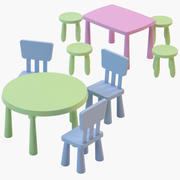 IKEA Mammut chairs and tables 3d model