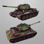 タンクT-34-85ローポリ 3d model