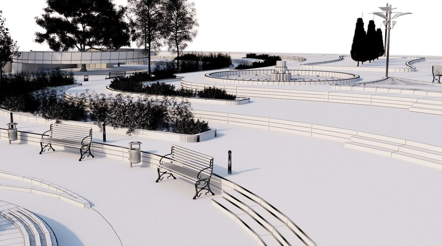 Parkera landskap 2 royalty-free 3d model - Preview no. 9