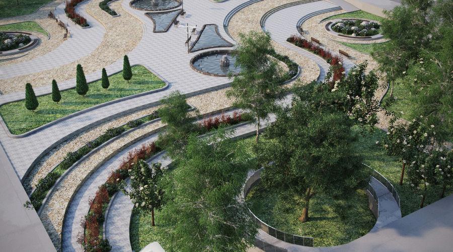 Parkera landskap 2 royalty-free 3d model - Preview no. 2