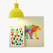Decor set | Muuto Unfold Lamp, Canvas, Poster 3d model