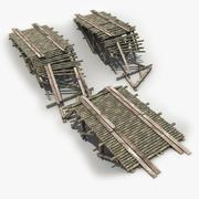 Zniszczony drewniany most 3d model