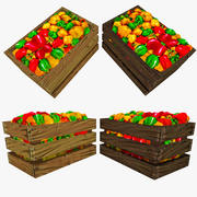 Low Poly Crate of Peppers 3d model