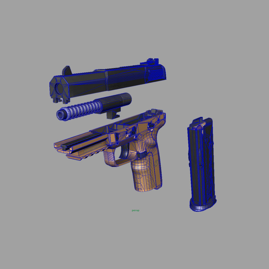FN FiveSeven royalty-free 3d model - Preview no. 8