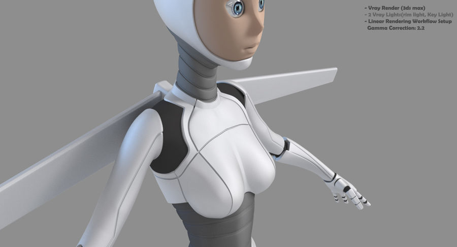 Vrouwelijke robot Android royalty-free 3d model - Preview no. 14