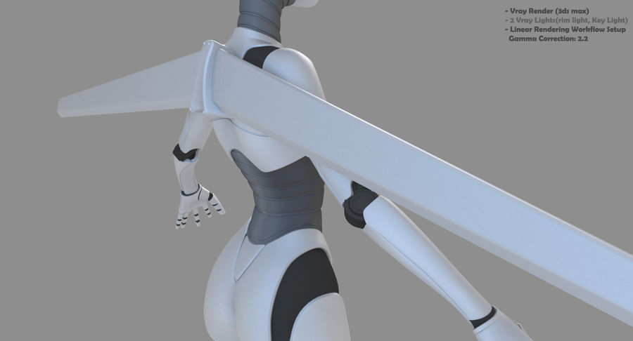 Vrouwelijke robot Android royalty-free 3d model - Preview no. 11