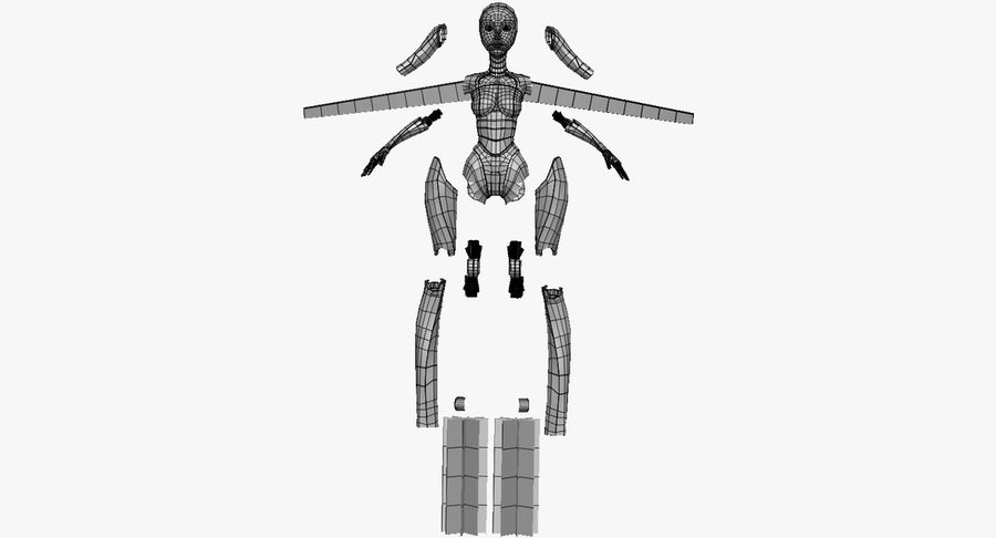 Vrouwelijke robot Android royalty-free 3d model - Preview no. 66