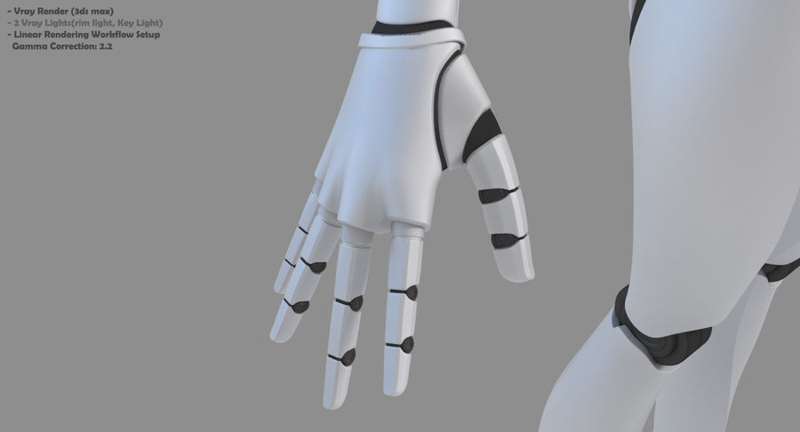 Vrouwelijke robot Android royalty-free 3d model - Preview no. 24