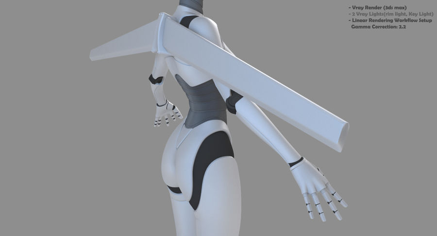 Vrouwelijke robot Android royalty-free 3d model - Preview no. 6