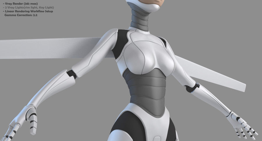 Vrouwelijke robot Android royalty-free 3d model - Preview no. 4