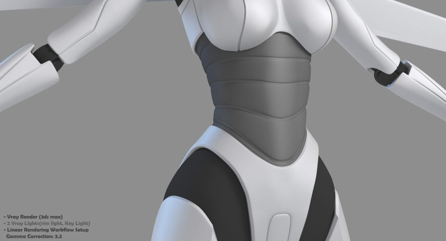 Vrouwelijke robot Android royalty-free 3d model - Preview no. 27