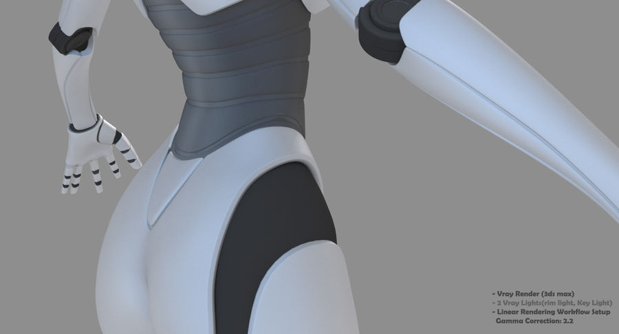 Vrouwelijke robot Android royalty-free 3d model - Preview no. 29