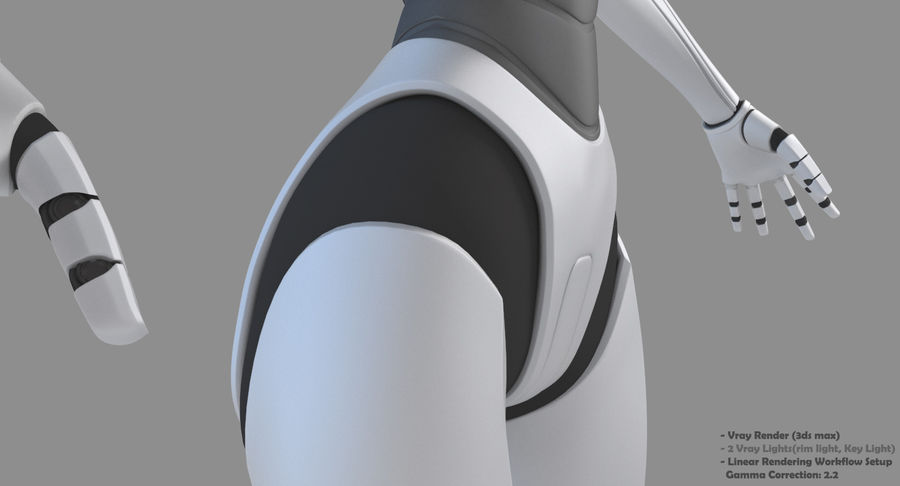 Vrouwelijke robot Android royalty-free 3d model - Preview no. 28