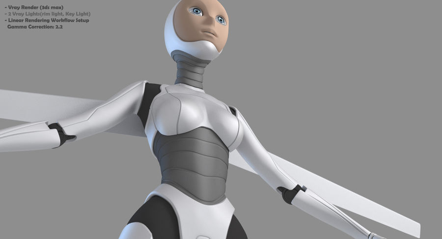Vrouwelijke robot Android royalty-free 3d model - Preview no. 5