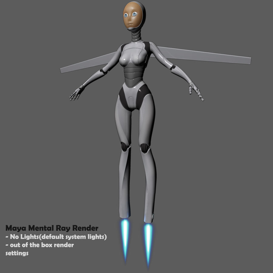 Vrouwelijke robot Android royalty-free 3d model - Preview no. 70