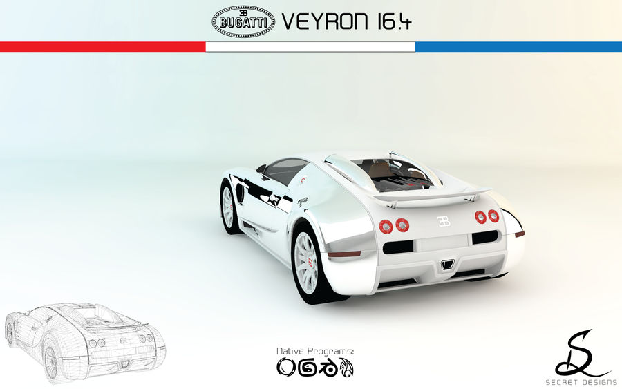 Bugatti Veyron 16.4 royalty-free 3d model - Preview no. 2