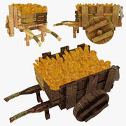 Low Poly Wooden Cart of Bread 3d model