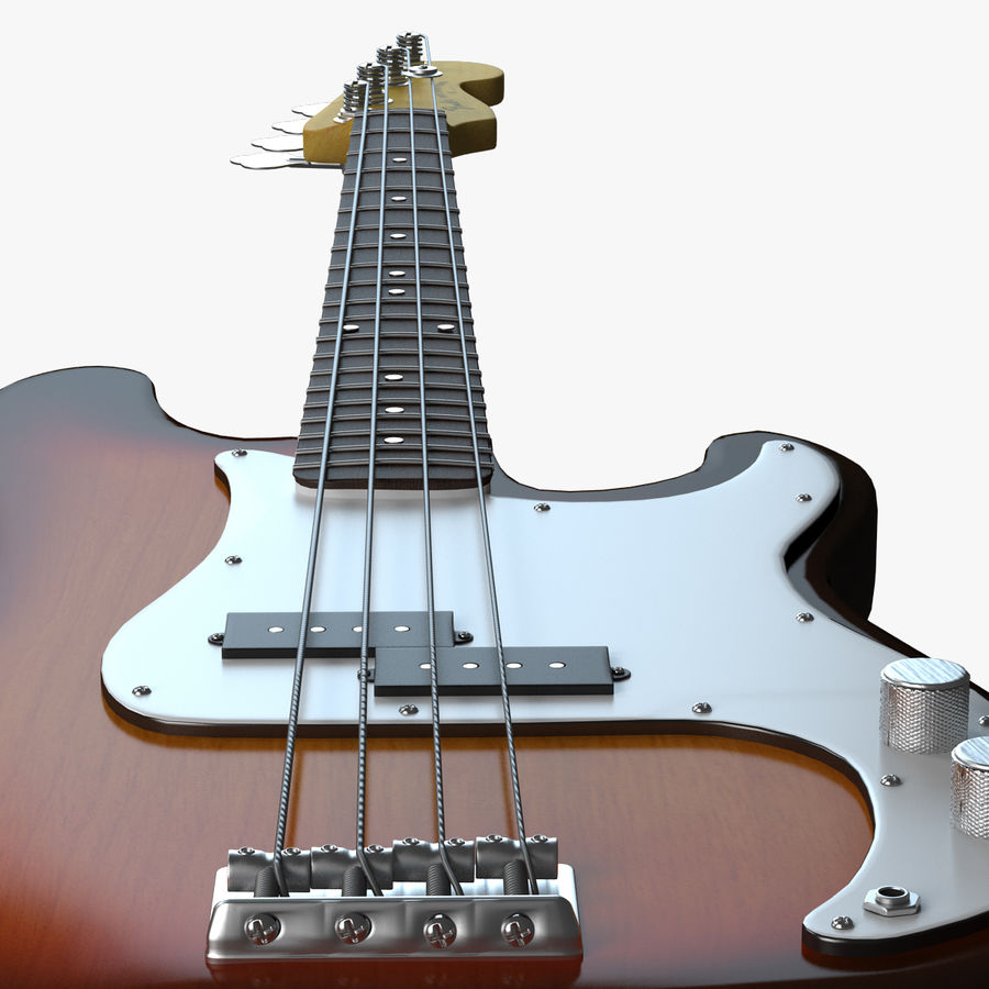 Guitar Fender Precision Bass et son étui royalty-free 3d model - Preview no. 14