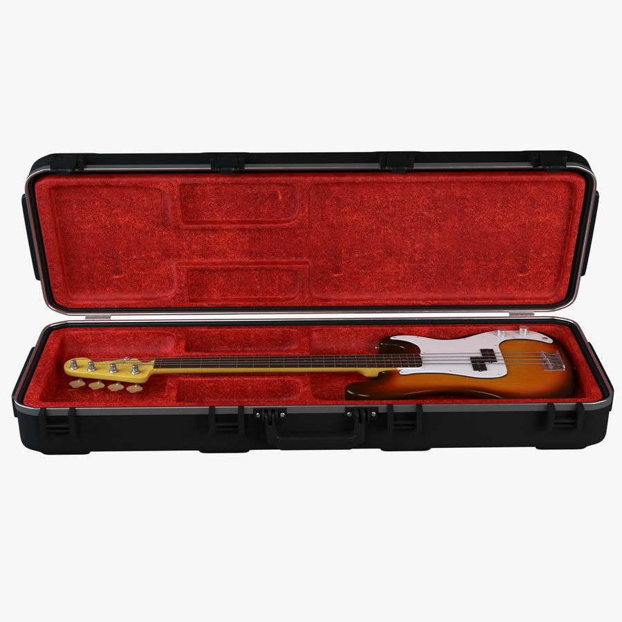 Guitar Fender Precision Bass et son étui royalty-free 3d model - Preview no. 8