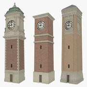 Clock tower pack with interiors textured 3d model