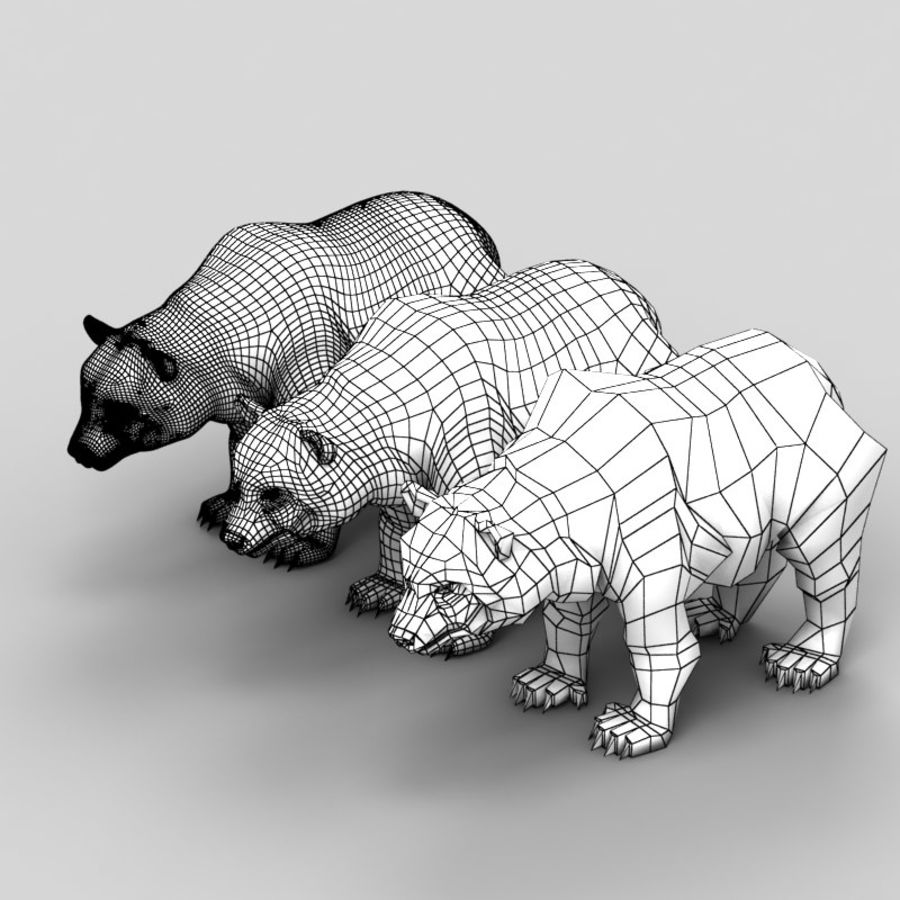 Düşük Poli 1 Bear royalty-free 3d model - Preview no. 6