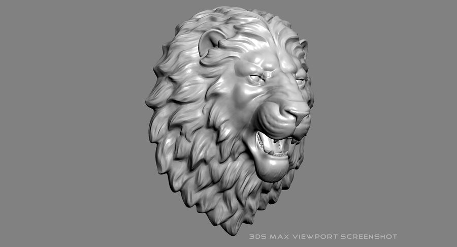 Lion Head Sculpture Aggressive royalty-free 3d model - Preview no. 15