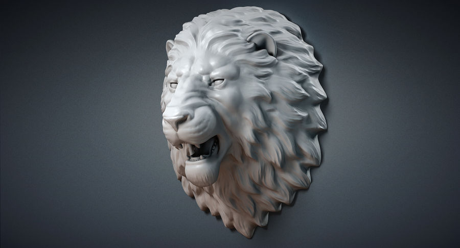 Lion Head Sculpture Aggressive royalty-free 3d model - Preview no. 6