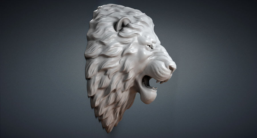 Lion Head Sculpture Aggressive royalty-free 3d model - Preview no. 5