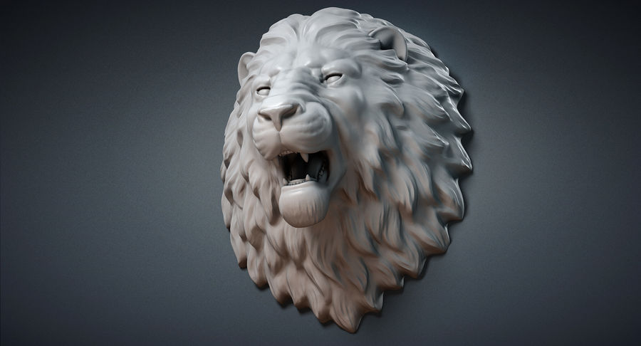 Lion Head Sculpture Aggressive royalty-free 3d model - Preview no. 9