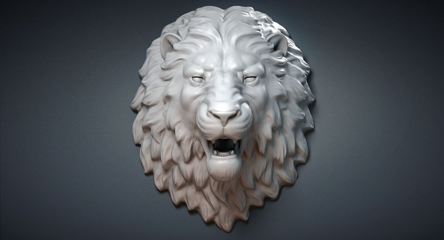 Lion Head Sculpture Aggressive royalty-free 3d model - Preview no. 3