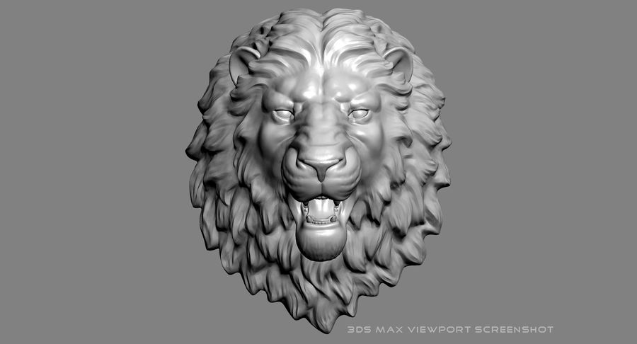 Lion Head Sculpture Aggressive royalty-free 3d model - Preview no. 14