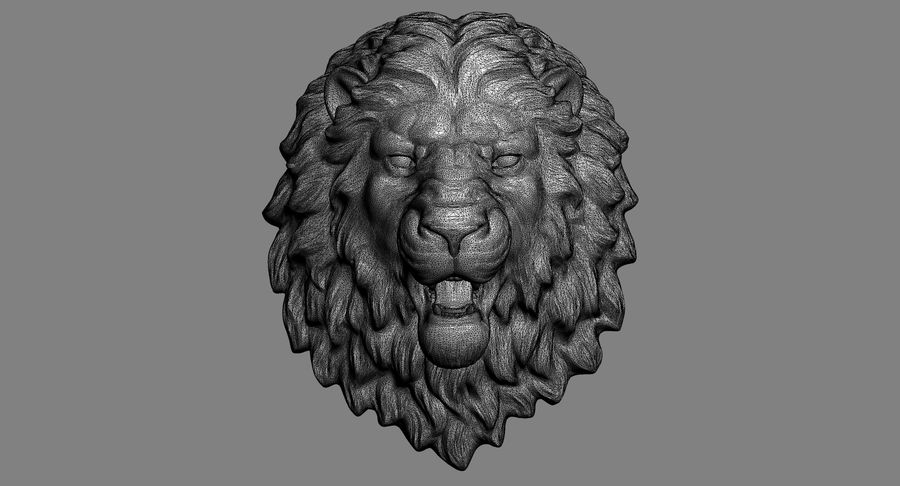 Lion Head Sculpture Aggressive royalty-free 3d model - Preview no. 10