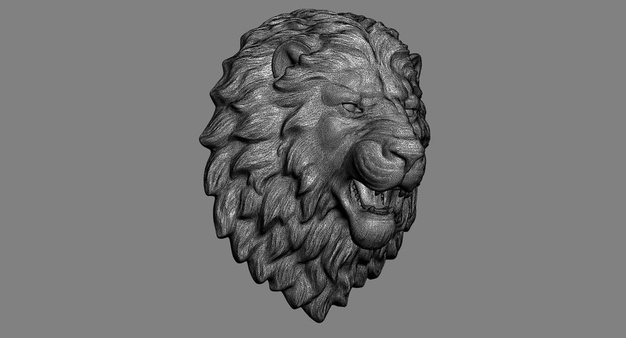 Lion Head Sculpture Aggressive royalty-free 3d model - Preview no. 12