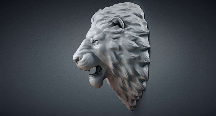 Lion Head Sculpture Aggressive royalty-free 3d model - Preview no. 7