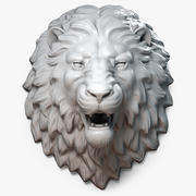 Sculpture de tête de lion agressif 3d model