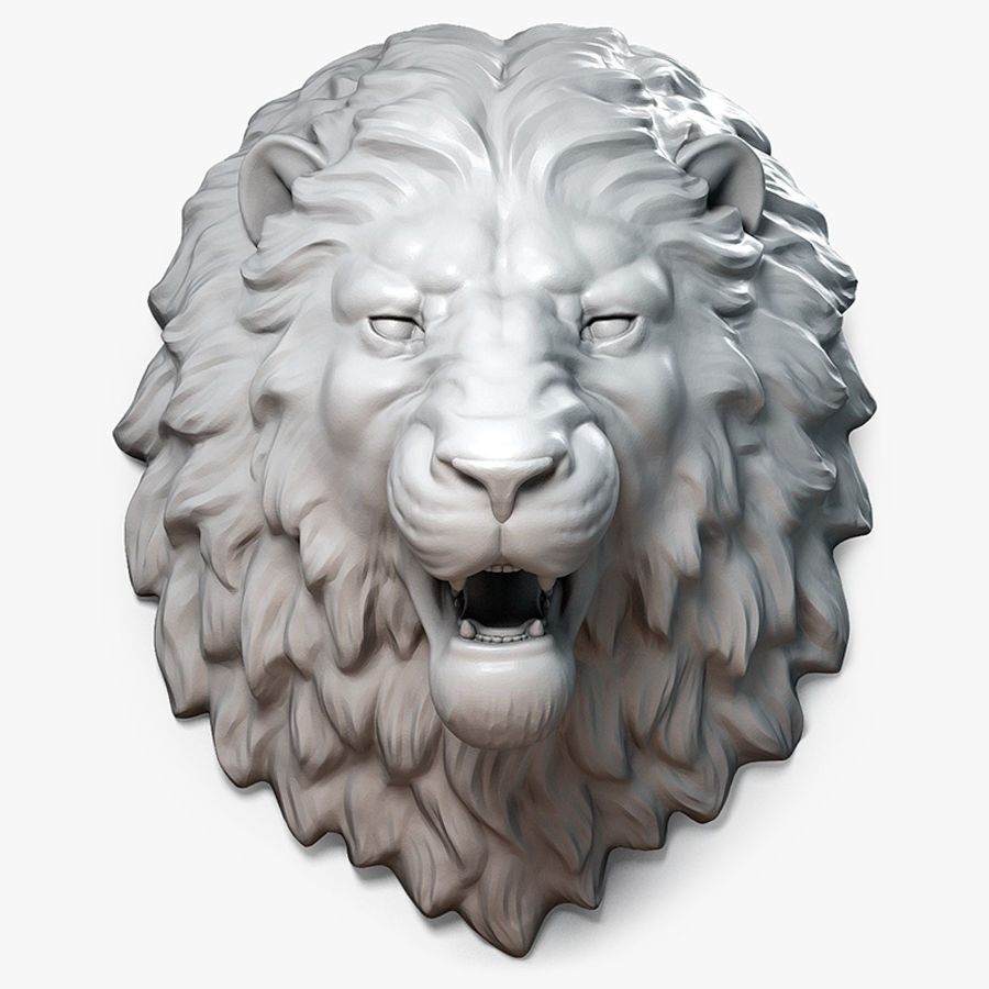Lion Head Sculpture Aggressive royalty-free 3d model - Preview no. 1