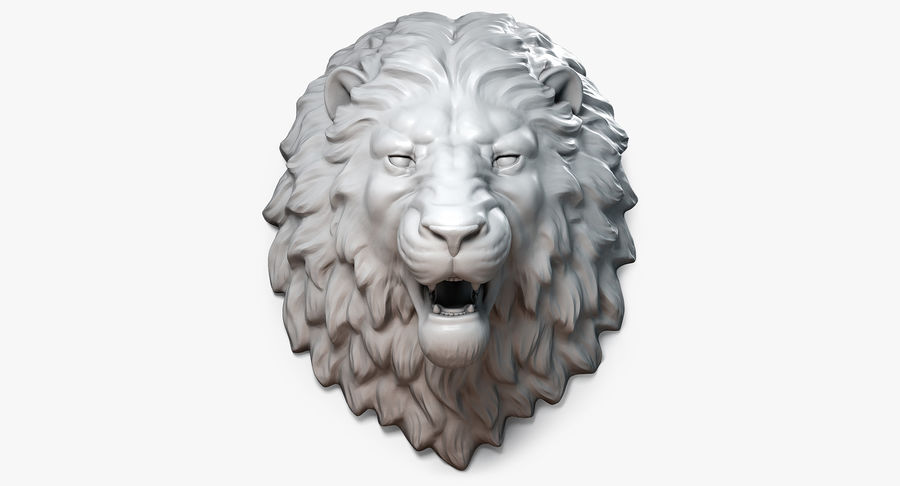 Lion Head Sculpture Aggressive royalty-free 3d model - Preview no. 2