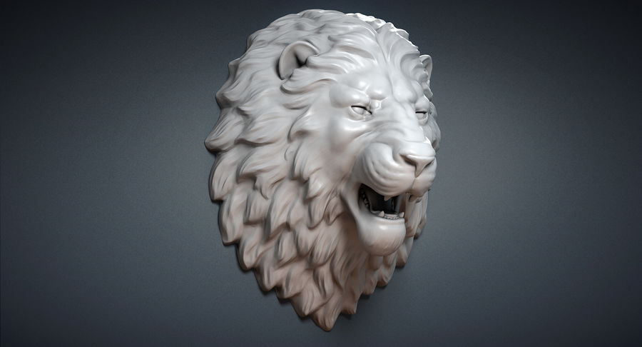Lion Head Sculpture Aggressive royalty-free 3d model - Preview no. 4