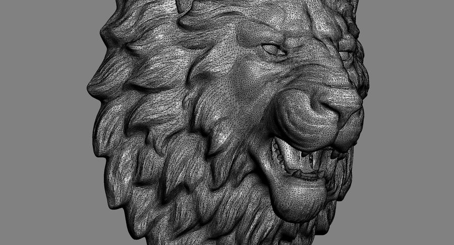 Lion Head Sculpture Aggressive royalty-free 3d model - Preview no. 13