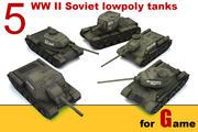 5 советских низкополигональных танков 3d model