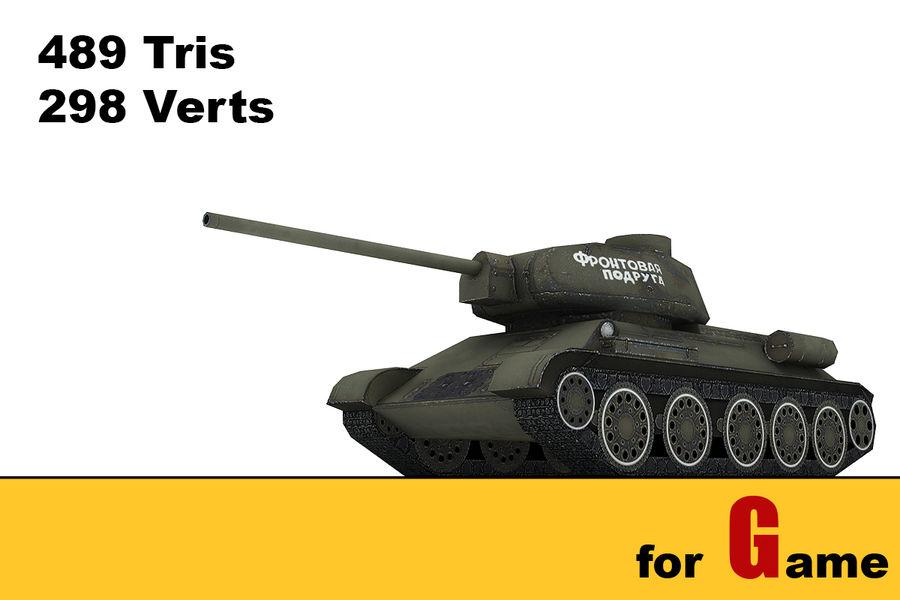 5 Sovyet düşük poli tank royalty-free 3d model - Preview no. 6