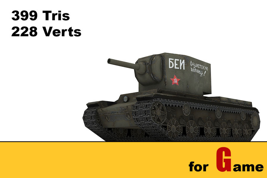 5 Sovyet düşük poli tank royalty-free 3d model - Preview no. 4
