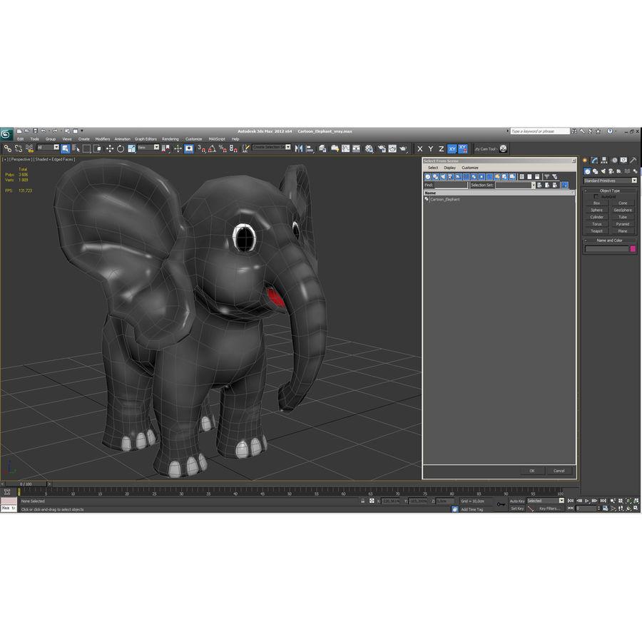 Éléphant de dessin animé royalty-free 3d model - Preview no. 25